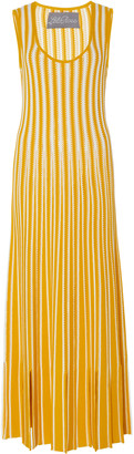 Lela Rose Fringe-Trimmed Striped Crochet-Knit Midi Dress