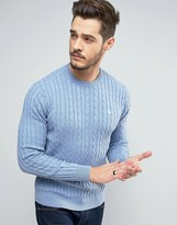 Jack Wills Marlow Cable Knit Sweater in Pale Blue