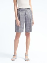 Banana Republic Avery-Fit Linen-Blend Pleated Bermuda Short