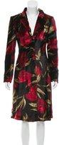 Dolce & Gabbana Rose Print Velvet Coat