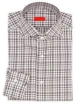 Isaia Regular-Fit Checkered Cotton Dress Shirt