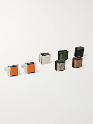 Valextra Interchangeable Sterling Silver And Pebble-Grain Leather Cufflinks