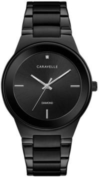 Caravelle Designed by Bulova Men's Diamond-Accent Black Stainless Steel Bracelet Watch 40mm