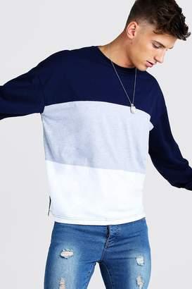 boohoo Colour Block Oversized Long Sleeve T-Shirt