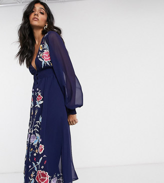 Asos Tall DESIGN Tall embroidered long sleeve button through midi dress with shirred waist in navy