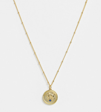 Reclaimed Vintage inspired 14k gold plate taurus star sign coin necklace