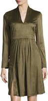 Catherine Malandrino Long-Sleeve Faux-Suede Fit-and-Flare Dress, Green