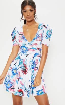 PrettyLittleThing Cream Floral Printed Drop Hem Puff Sleeve Tea Dress