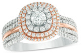 Zales 1 CT. T.W. Diamond Triple Cushion Frame Multi-Row Engagement Ring in 14K Two-Tone Gold