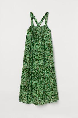 H&M A-line Cotton Dress - Green