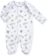 Kissy Kissy Slugger Printed Pima Footie Pajamas, Blue/White, Size 0-9 Months
