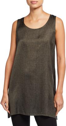 Eileen Fisher Crossroad Print Silk/Organic Cotton Long Tank
