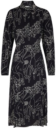 Victoria Victoria Beckham Cabaret Printed Midi Shirt Dress