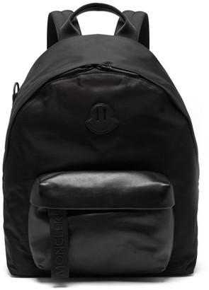 Moncler Logo-applique Leather-panel Backpack - Mens - Black