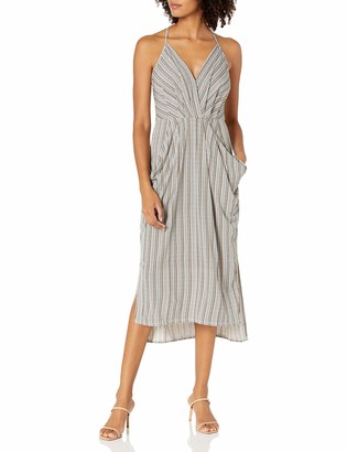 BCBGeneration Women's Sleeveless V-Neck Printed Faux Wrap Midi Dress