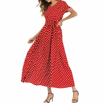 ASHOP Maxi Dresses for Women Summer Short Sleeve Beach Polka Dot Bandage Long Dress