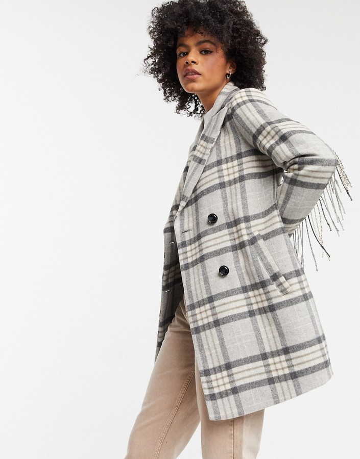 Gianni Feraud Gray check short overcoat with tassle detailing