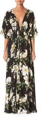 Carolina Herrera 1/2-Sleeve V-Neck Floral Caftan