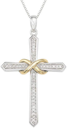 Silver Cross Fine Jewelry Womens 1/6 CT. T.W. Genuine White Diamond Sterling Pendant Necklace