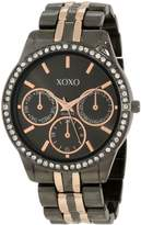 XOXO Women's XO5520 Rhinestones Accent Gunmetal-Tone Bracelet Analog Watch