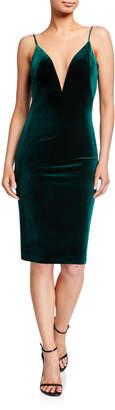 Theia Love, Plunge-Neck Velvet Slip Dress