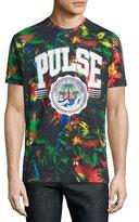 Moschino Short-Sleeve Tropical-Print T-Shirt, Black/Multi