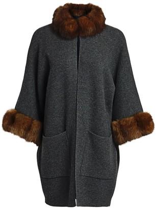 The Fur Salon Sable Fur-Collar Cashmere Kimono Jacket
