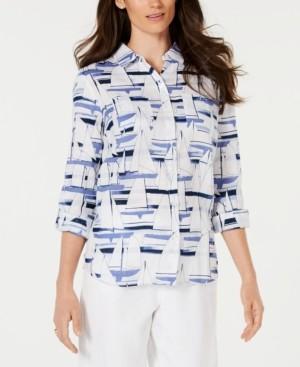 Charter Club Sailboat-Print Shirt, Created for Macy's