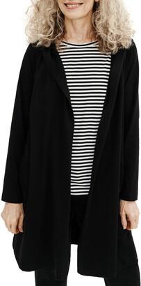 Eileen Fisher Hooded Open Front Jacket