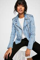 Understated Leather Denim Star Studded Moto Jacket