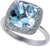 Effy Aquarius by Aquamarine (4 ct. t.w.) and Diamond (1/4 ct. t.w.) Ring in 14k White Gold