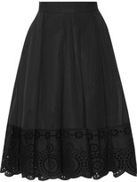 Marc Jacobs Broderie Anglaise-trimmed Stretch-cotton Poplin Skirt - Black
