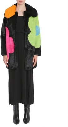 Boutique Moschino Flower Printed Long Fur Coat
