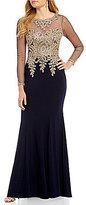 Xscape Evenings Long Sleeve Lace Applique Mermaid Gown