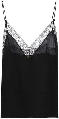 Gucci Silk Monogram Camisole Blouse Black