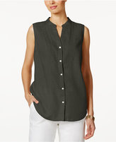 Charter Club Linen Embroidered-Bib Shirt, Created for Macy's