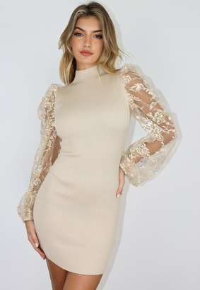 Missguided Stone Organza Puff Sleeve Knitted Mini Dress