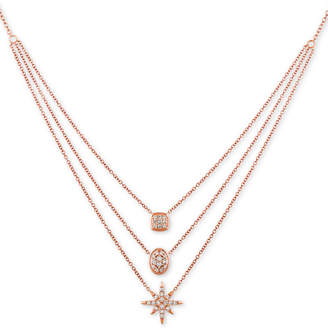 "LeVian Le Vian Nude Diamond Triple Layer 24"" Pendant Necklace (7/8 ct. t.w.) in 14k Rose Gold"