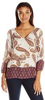 Lucky Brand Women's Paisley Print Blouse Top