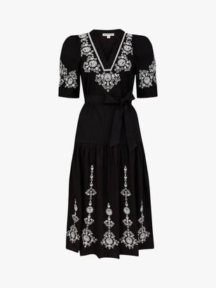 Monsoon Enya Embroidered Cotton Midi Dress, Black