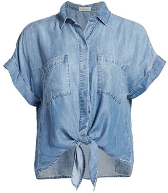 Bella Dahl Chambray Button-Up Tie T-Shirt