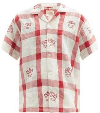 Harago - Boat-embroidered Check Linen Shirt - Red White
