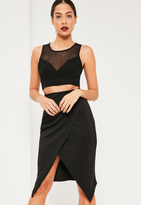 Missguided Black Scuba Split Front Wrap Over Midi Skirt