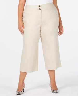 Alfani Plus Size High-Waist Wide-Leg Capris, Created for Macy's