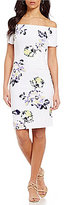 Antonio Melani Melissa Floral Off-the-Shoulder Scuba Crepe Dress