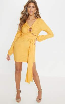 PrettyLittleThing Tangerine Ring Detail Drape Bodycon Dress