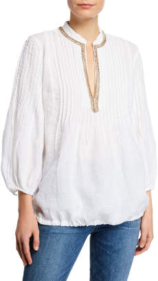 120% Lino 3/4-Sleeve Pintuck Poet Shirt w/ Embellished Mandarin Collar & Drawstring Hem