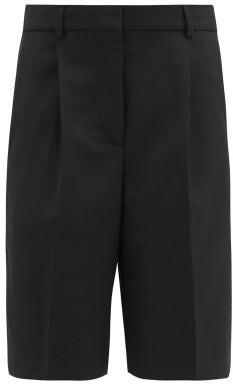 Acne Studios Ruthie Pleated Wool-blend Grain-de-poudre Shorts - Black