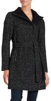 T Tahari Wool-Blend Belted Tweed Peacoat