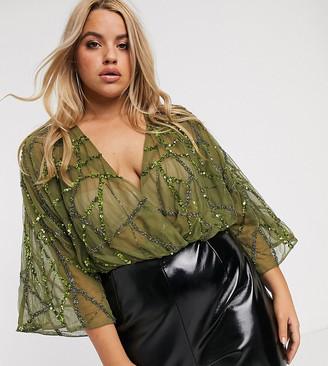 Asos DESIGN Curve angel sleeve sequin bodysuit in khaki